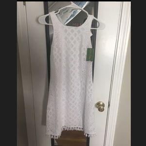 White lace Lilly Pulitzer shift dress.